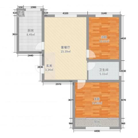 百福汇2室2厅1卫1厨87.00㎡户型图
