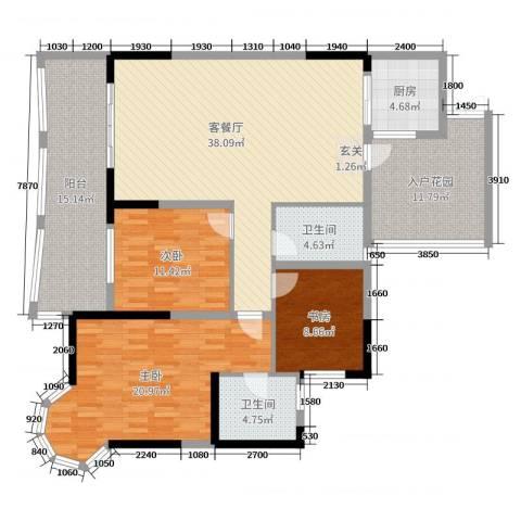 凯信水韵滨江二期公园大帝3室2厅2卫1厨138.00㎡户型图