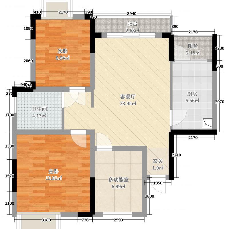 润鸿水尚92.75㎡35/36/37/42/43#B3户型2室2厅1卫1厨