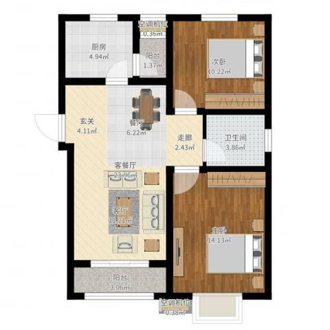 怡祥苑2室2厅1卫1厨78.00㎡户型图