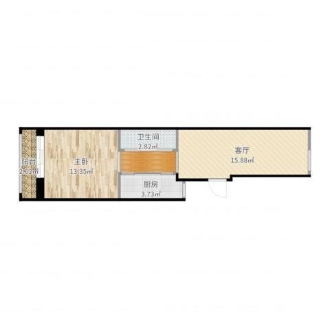 羊耳峪北里18号楼3单元201室1室1厅1卫1厨52.00㎡户型图