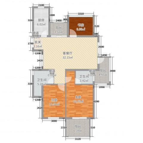 勤业镜悦府3室2厅2卫1厨95.86㎡户型图