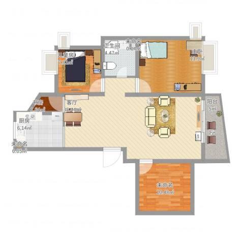 金碧汇虹苑3室1厅1卫1厨122.00㎡户型图