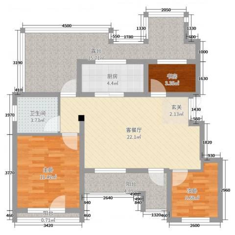 证大・大拇指广场3室2厅1卫1厨90.00㎡户型图