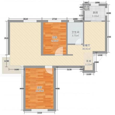 易和熙园2室2厅1卫1厨77.00㎡户型图