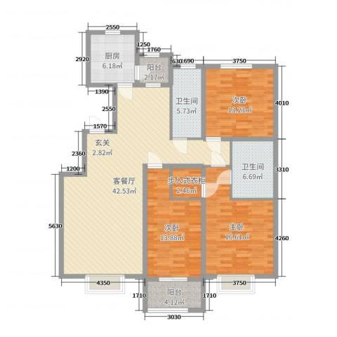 民生凤凰城3室2厅2卫1厨142.00㎡户型图