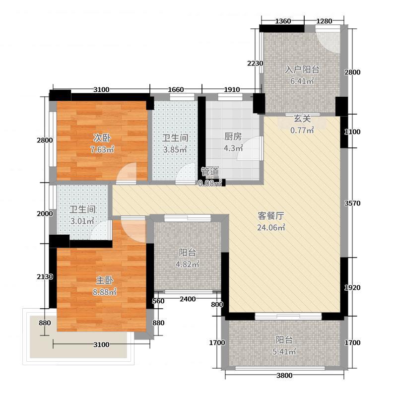 海宁公馆87.50㎡奇数层户型2室2厅2卫1厨