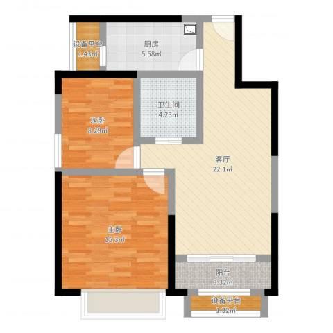 蓝光星华・海悦城2室1厅1卫1厨77.00㎡户型图