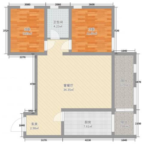 天赐康缘2室2厅1卫1厨97.00㎡户型图