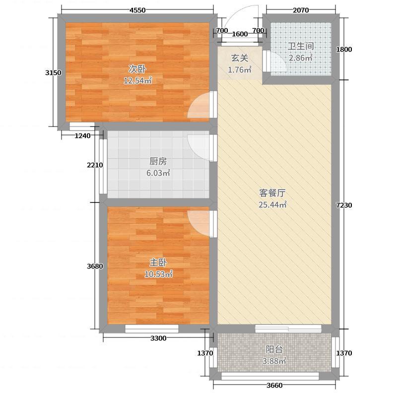 西部峰景76.60㎡1#标准层2-02户型2室2厅1卫1厨