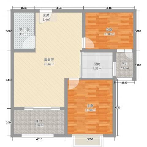 时代广场2室2厅1卫1厨89.00㎡户型图