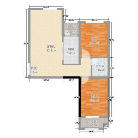 时代广场2室2厅1卫1厨91.00㎡户型图