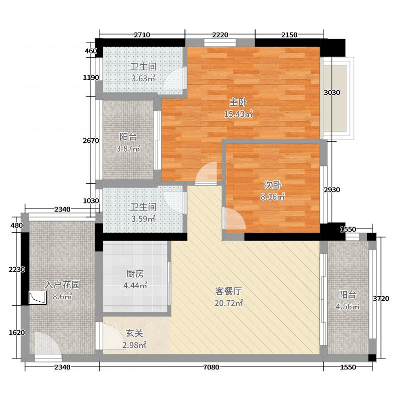 优越香格里91.16㎡4期6/9栋04户型2室2厅2卫1厨