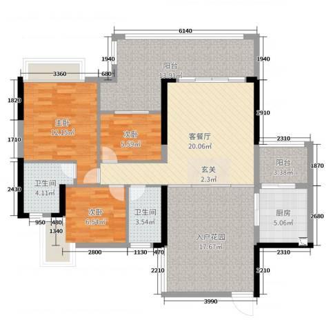 泊岸君庭3室2厅2卫1厨115.00㎡户型图