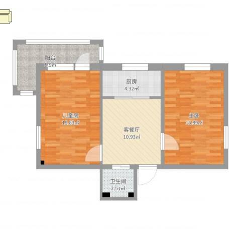 光熙门北里2室2厅1卫1厨55.39㎡户型图
