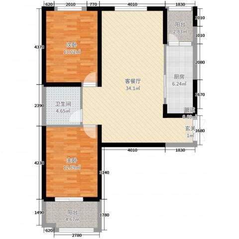 时代广场2室2厅1卫1厨98.00㎡户型图