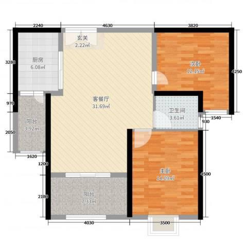 时代广场2室2厅1卫1厨99.00㎡户型图