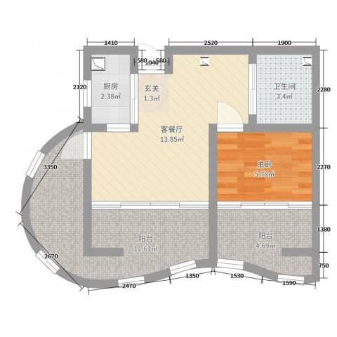 洱海国际生态城1室2厅1卫1厨41.71㎡户型图