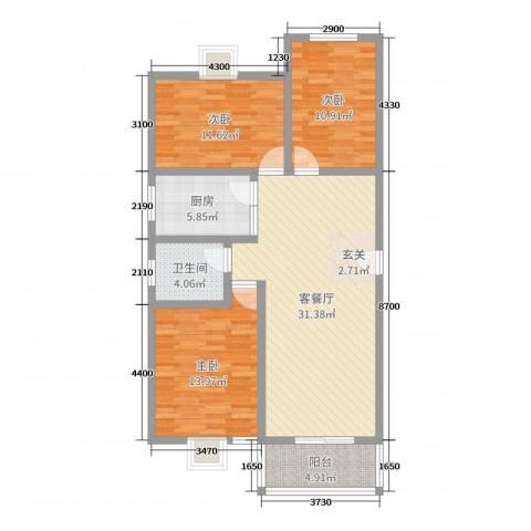 祥和至尊3室2厅1卫1厨104.00㎡户型图