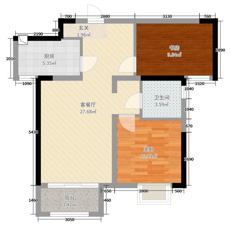 鑫苑国际新城75.00㎡K2户型2室2厅1卫1厨