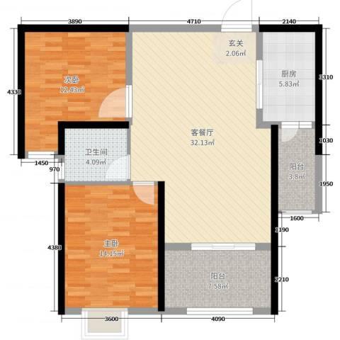 时代广场2室2厅1卫1厨100.00㎡户型图