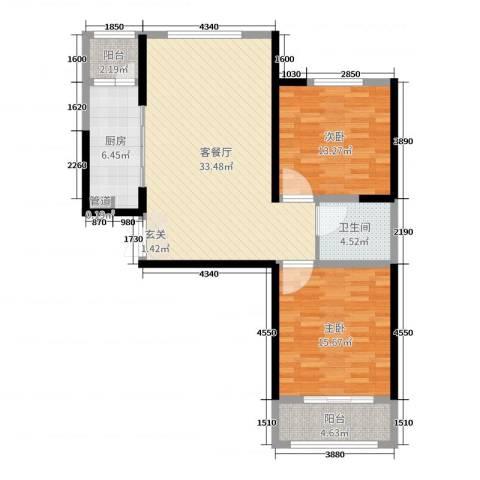 时代广场2室2厅1卫1厨101.00㎡户型图