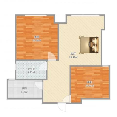 西坝河北里2室1厅1卫1厨79.00㎡户型图