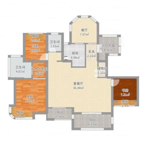 瑶溪金御湾3室3厅2卫1厨125.00㎡户型图