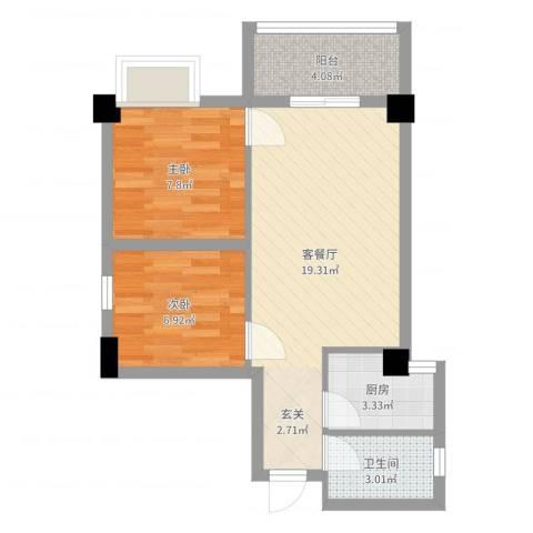 富力半岛花园2室2厅1卫1厨56.00㎡户型图
