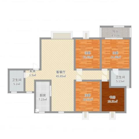 方圆小区4室2厅2卫1厨148.00㎡户型图