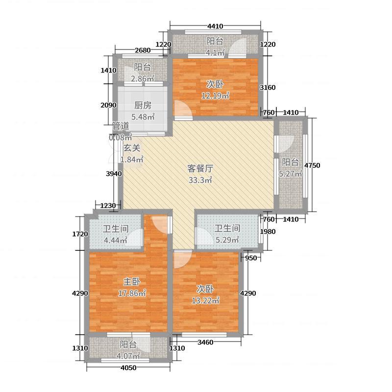 伸马托斯卡纳135.13㎡H户型3室3厅2卫1厨