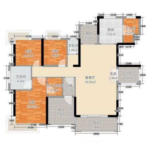 丰泰观山碧水・凌峰3室2厅2卫1厨159.00㎡户型图