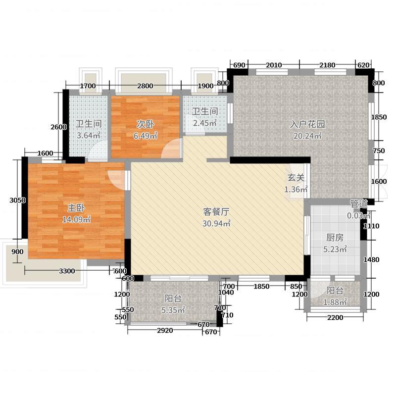 丰泰观山碧水・凌峰106.00㎡2栋1、2单元02户型2室2厅2卫1厨