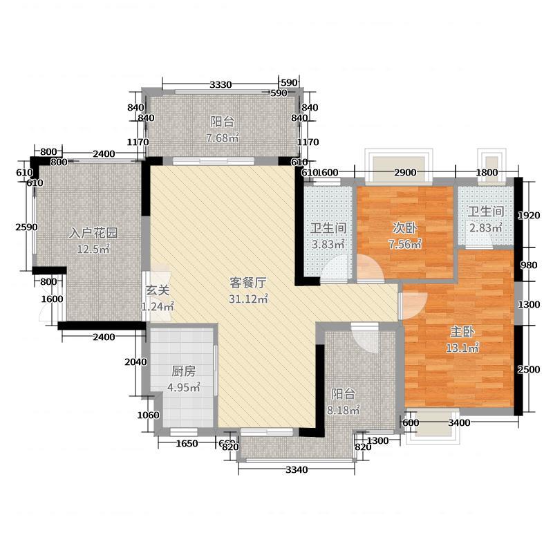 丰泰观山碧水・凌峰106.00㎡2栋/3栋/6栋03户型2室2厅2卫1厨