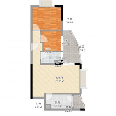 江畔华庭2室2厅1卫1厨88.00㎡户型图