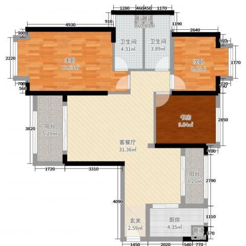 海伦堡爱ME城市3室2厅2卫1厨109.00㎡户型图