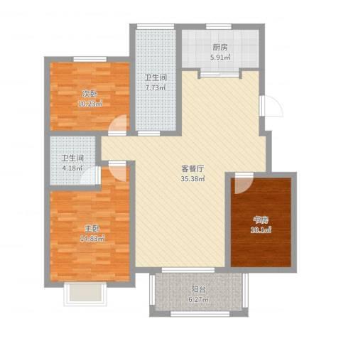 苏商御景湾3室2厅2卫1厨118.00㎡户型图
