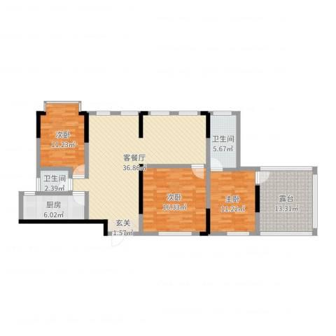 融景湾3室2厅2卫1厨129.00㎡户型图