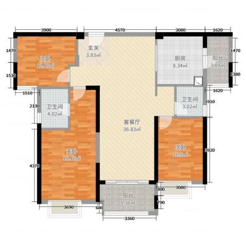 雅居乐・剑桥郡3室2厅2卫1厨128.00㎡户型图