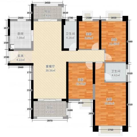 雅居乐・剑桥郡4室2厅2卫1厨141.00㎡户型图