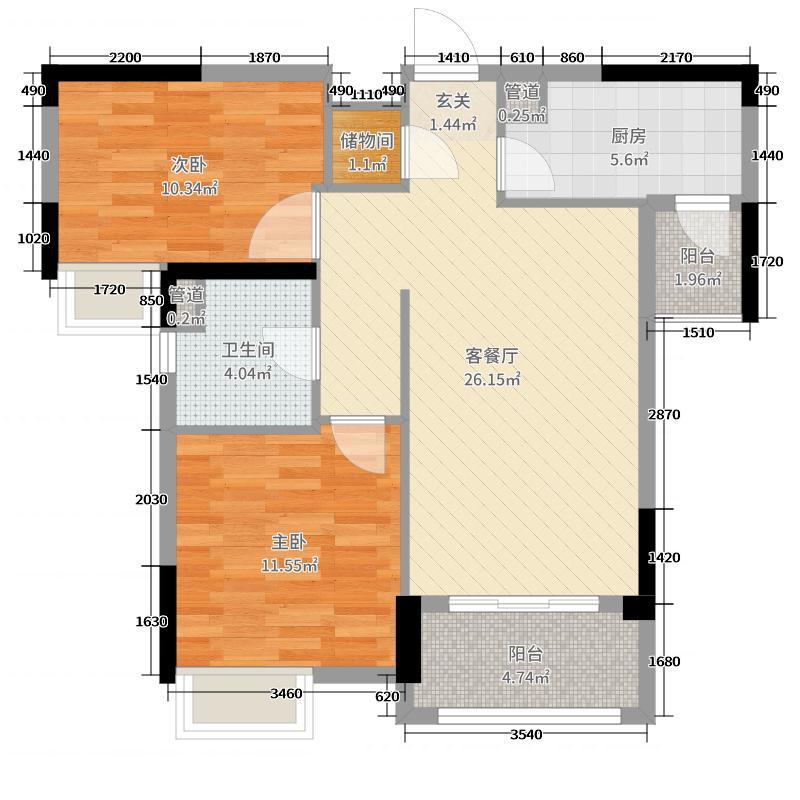 海伦小镇83.00㎡C26、25栋2单元户型2室2厅1卫1厨