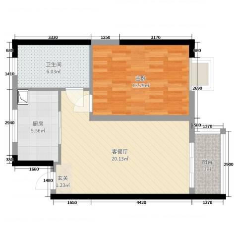 鑫苑国际新城1室2厅1卫1厨48.00㎡户型图