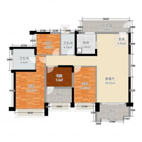 雅居乐・剑桥郡4室2厅2卫1厨145.00㎡户型图