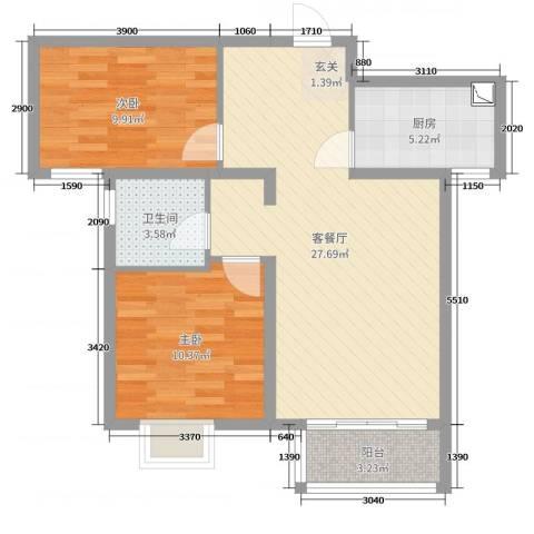 鑫苑国际新城2室2厅1卫1厨60.00㎡户型图