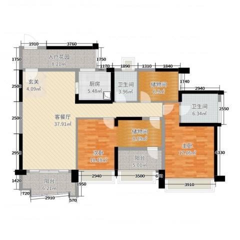 雅居乐・剑桥郡2室2厅2卫1厨145.00㎡户型图