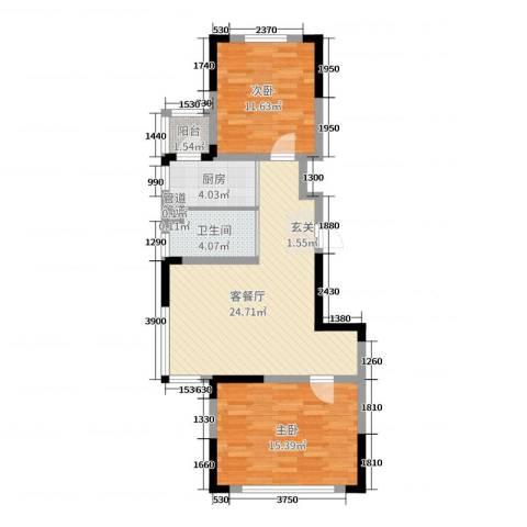 东逸美郡二期2室2厅1卫1厨85.00㎡户型图