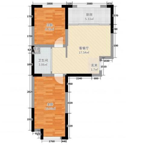 东逸美郡二期2室2厅1卫1厨79.00㎡户型图