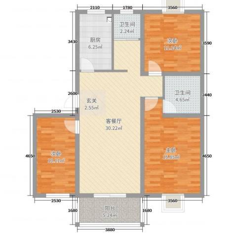 祥和至尊3室2厅2卫1厨107.00㎡户型图
