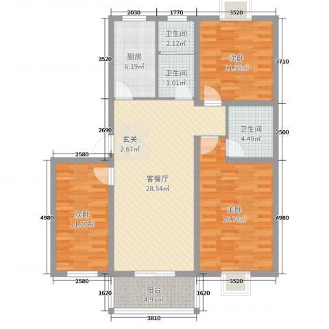 祥和至尊3室2厅3卫1厨111.00㎡户型图