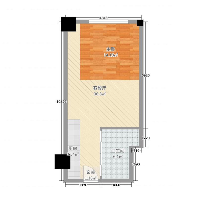 时代国际53.00㎡乐居风尚公寓Cb户型1室1厅1卫1厨